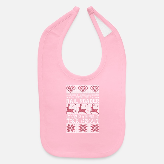 The Office Baby Clothing - Merry Christmas Rail Roader Everybody Talks About - Baby Bib light pink