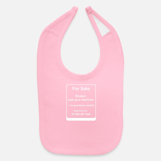 Quiz Baby Clothing - Broken Pub Quiz Machine - Baby Bib light pink