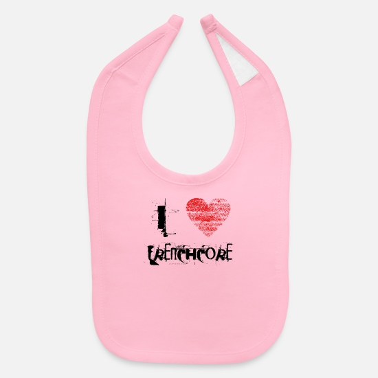 Love Baby Clothing - i love Frenchcore techno dubstep raver festival - Baby Bib light pink