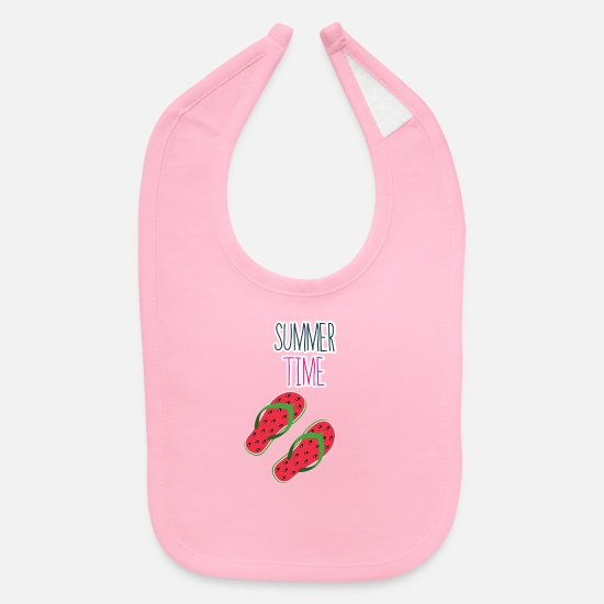 Summer Time Watermelon Flip Flop T-Shirt Baby Clothing - Summer Time Watermelon Flip Flop T-Shirt - Baby Bib light pink