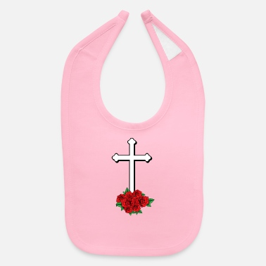 Draw cross with roses Jesus God Love Drawing church - Baby Bib