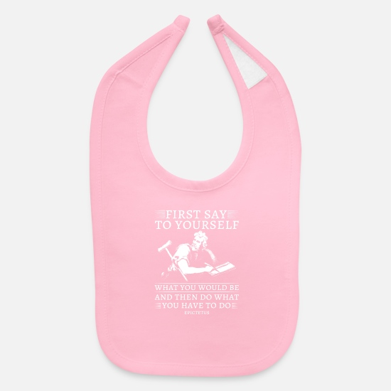 Saying Baby Clothing - Philosophy First Say To Yourself - Baby Bib light pink