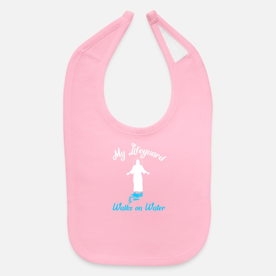 Catholic Baby Clothing - Christian Pun Funny Jesus Lifeguard Catholic Water - Baby Bib light pink