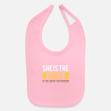 Gay Pride LGBT Gay Pride Lesbian She Is The Gold Rainbow - Baby Bib