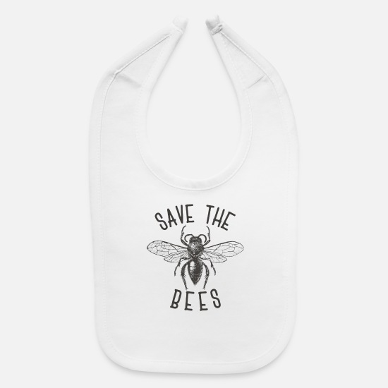 Gift Idea Baby Clothing - Bee Bees Bee Save the bees gift - Baby Bib white