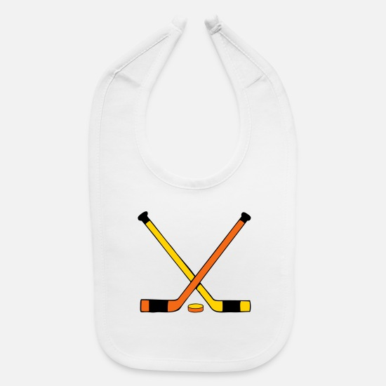 Hockey Baby Clothing - Hockey Stick and Puck - Baby Bib white