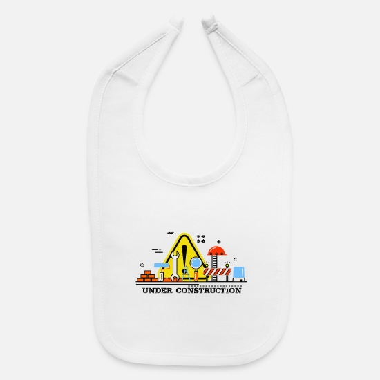 Construction Baby Clothing - Under Construction - Baby Bib white