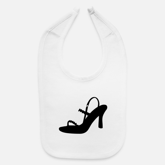 Woman Power Baby Clothing - Vector high heels shoes Silhouette - Baby Bib white