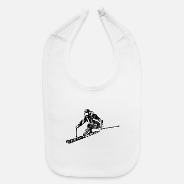 Sporty Skiers on the ski slopes in a sporty and fast way - Baby Bib