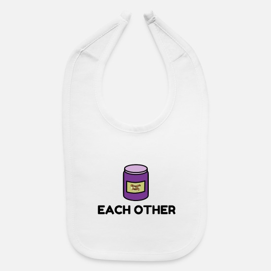 Holy Baby Clothing - Couples Peanut Butter and Jelly Match - Baby Bib white