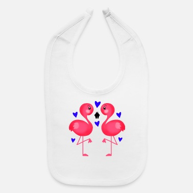 Beak Two cute pink flamingos in love. Beak to beak. - Baby Bib