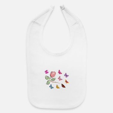 Butterflies In The Stomach Flying Butterflies with Rose branch - Baby Bib
