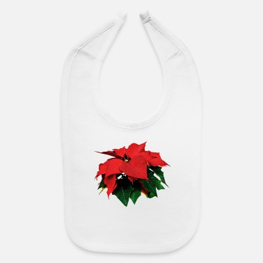 Poinsettia Poinsettia and Leaves - Baby Bib