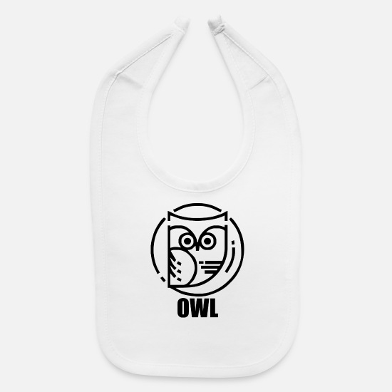 Night Owl Baby Clothing - circular owl - Baby Bib white