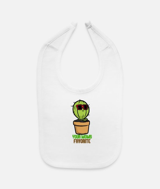 Favorite Baby Bibs - Moms Fav Mom's favorite, succulents and cactus. A - Baby Bib white