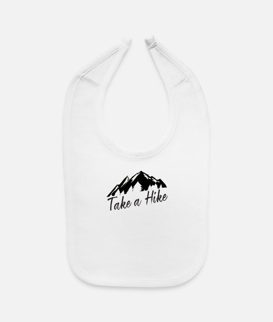 Mountains Baby Bibs - Take A Hike Funny Hiking Gift Outdoors Mountain - Baby Bib white