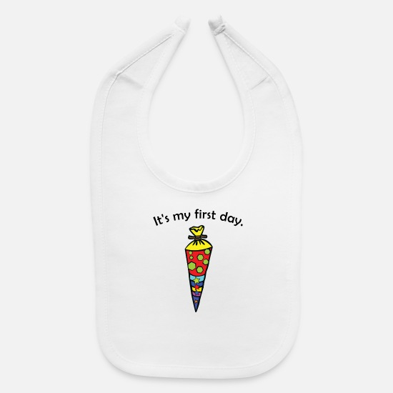 Gift Idea Baby Clothing - It's my first day. - Baby Bib white