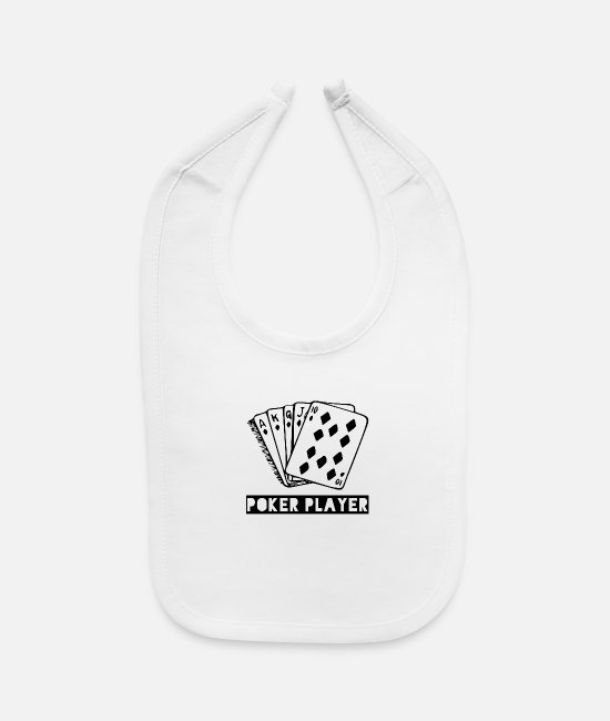 Play Poker Baby Bibs - For Poker Players and Card Players - Baby Bib white