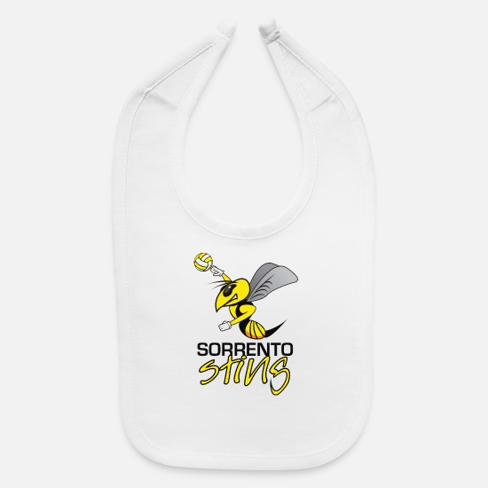 Beach Baby Clothing - Sorrento Sting Beach Volleyball - Baby Bib white
