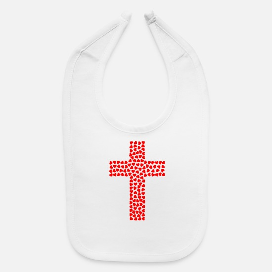 Cross Baby Clothing - Cross with hearts - Baby Bib white