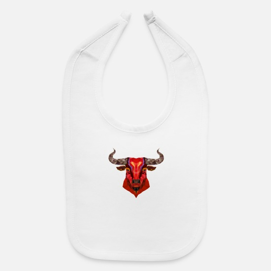 Head Baby Clothing - Head bull wildlife abstract animal vector image - Baby Bib white