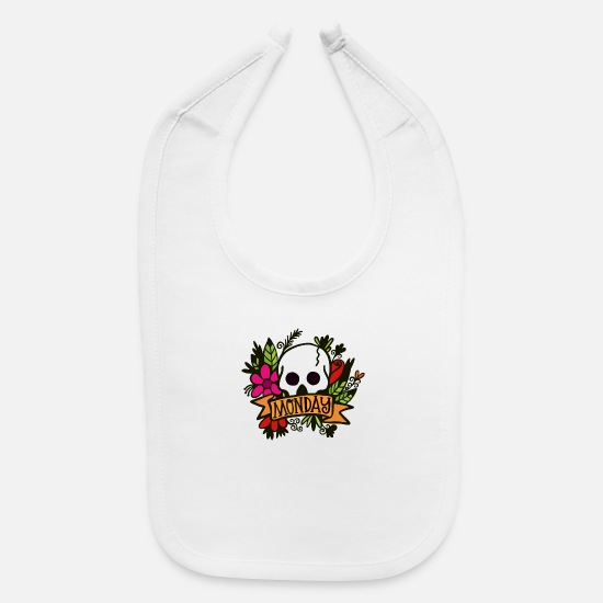 Skull And Bones Baby Clothing - Skull Flowers And Monday - Baby Bib white
