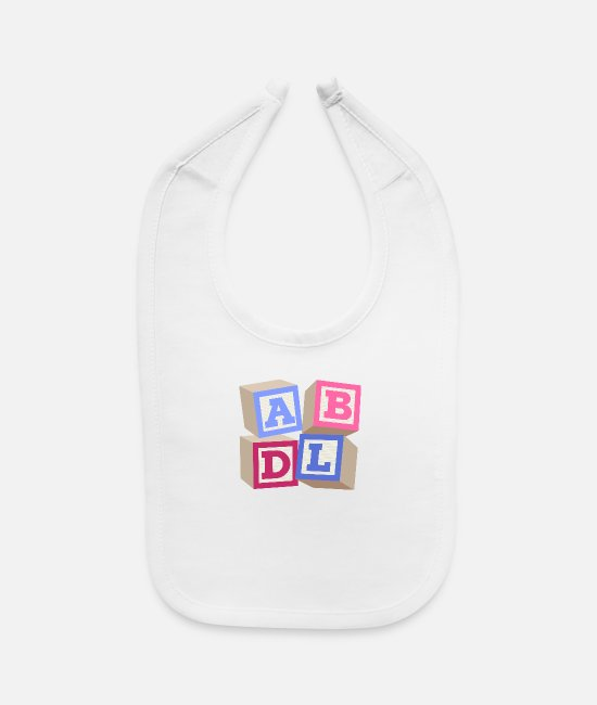 Ab Baby Bibs - AB DL ageplay ABDL adult baby diaper baby - Baby Bib white
