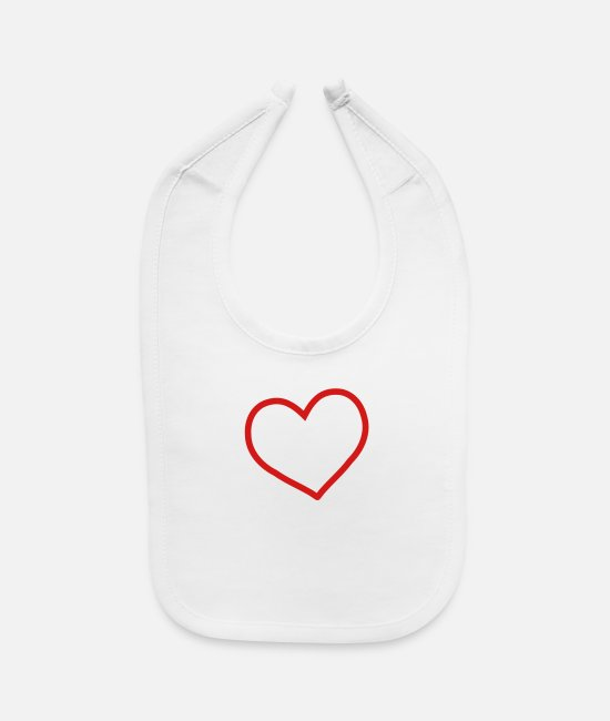 Amor Baby Bibs - red heart - Baby Bib white