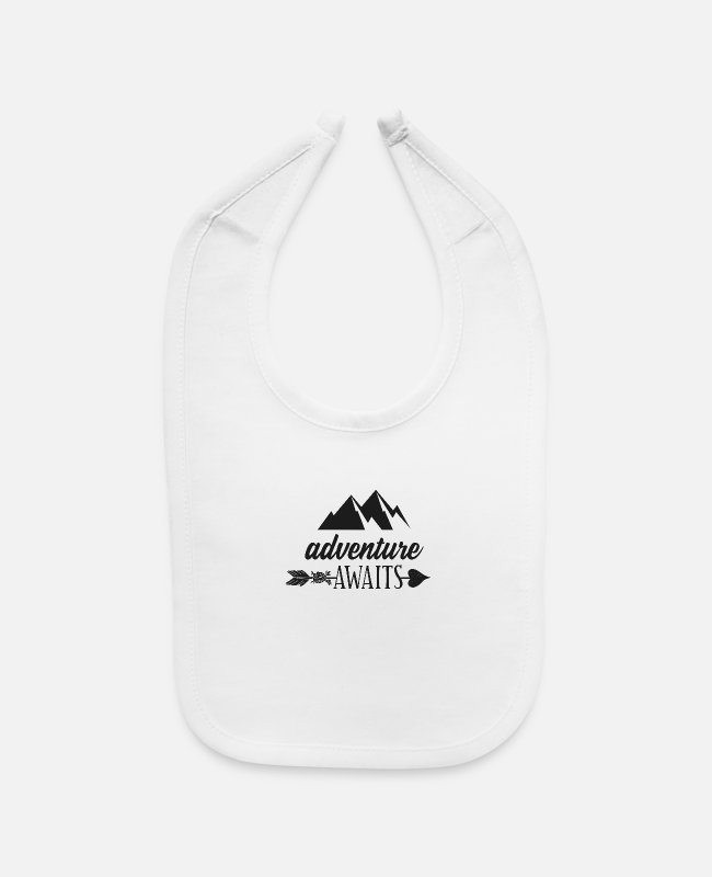 Mountains Baby Bibs - ADVENTURE AWAITS - Baby Bib white