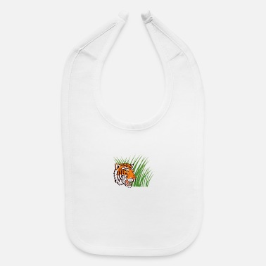 Tiger Hiding Grass Retro - Baby Bib