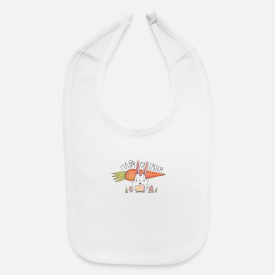 Big Baby Clothing - Cute Bunny With Big Carrot And Eggs For Easter Day - Baby Bib white