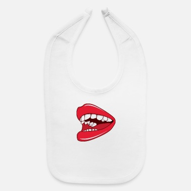 Hot Girl Lips open_mouth_with_teeth - Baby Bib