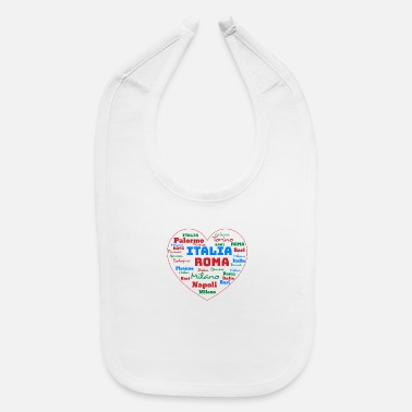 Cuore ITALY HEART ITALIA CUORE WORD CLOUD HOLIDAY (AZUR) - Baby Bib