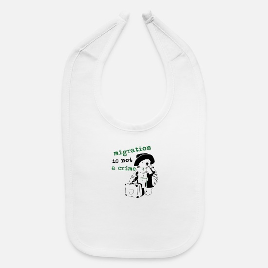 Refugee Baby Clothing - REFUGEES WELCOME - Baby Bib white
