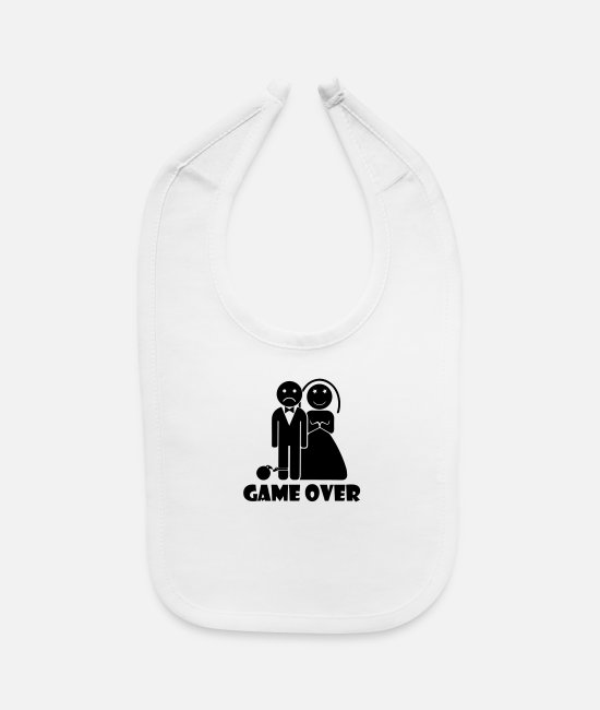 Bachelorette Party Baby Bibs - marriage and game over - Baby Bib white