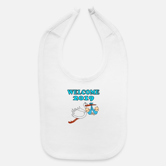 Twins Baby Clothing - Welcome 2019 Baby Twins Boy Stork Pregnant Birth - Baby Bib white