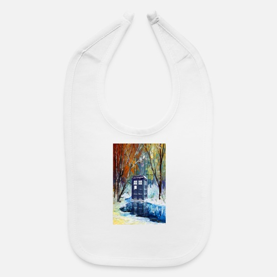 Miscellaneous Baby Clothing - Snowy Blue Phone Booth Phone case - Baby Bib white