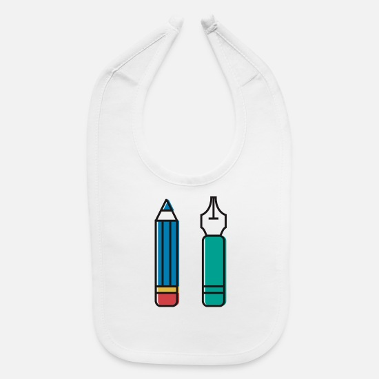 Note Baby Clothing - Pencil and Pen - Baby Bib white