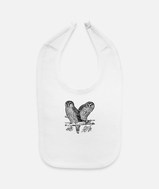Shoplifter Baby Bibs - Two Owls - Baby Bib white