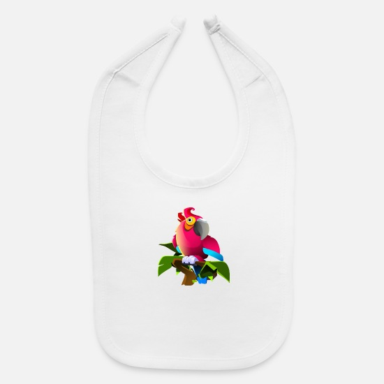 Image Baby Clothing - Parrot bird wildlife vector clip art kids picture - Baby Bib white