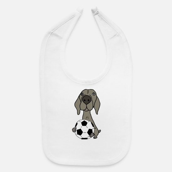 Dogs Baby Clothing - Cool Funky Weimaraner Dog Playing Soccer - Baby Bib white