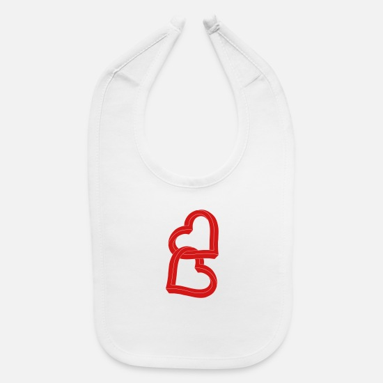 Heart Baby Clothing - Two United Hearts ca27 - Baby Bib white