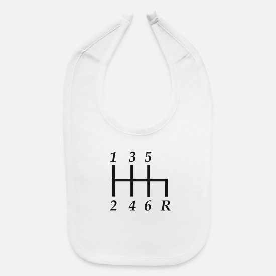 Gift Idea Baby Clothing - Gears shift knob - Baby Bib white