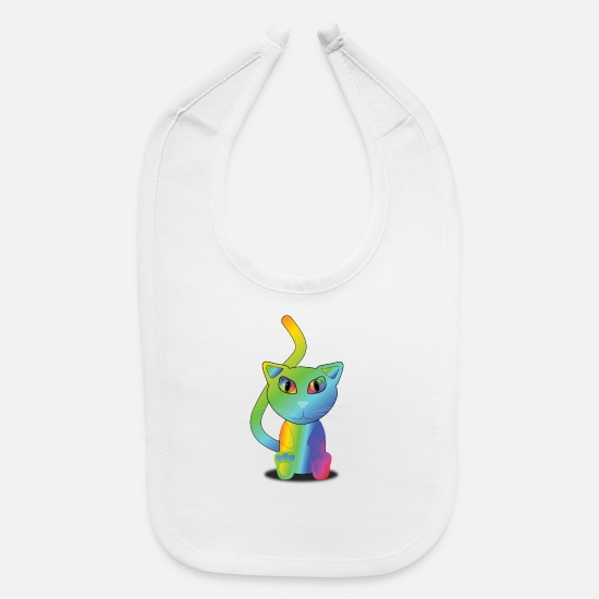 Rainbow Flag Baby Clothing - rainbow cat - Baby Bib white