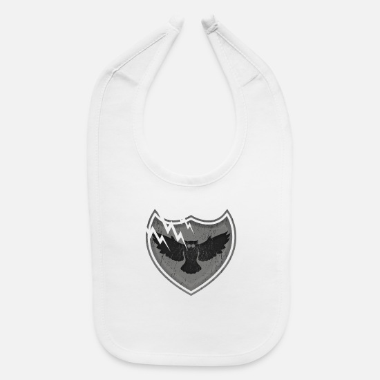 Shield Baby Clothing - Owls on the crest - Baby Bib white