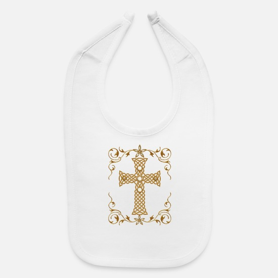 Celtic Baby Clothing - Wonderful celtic cross - Baby Bib white
