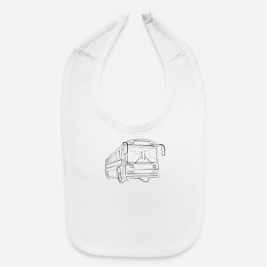 Transportation Baby Clothing - Bus driver Public transport - one line drawing - Baby Bib white