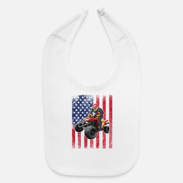 Quad ATV Quad Biking USA Flag Design - Baby Bib