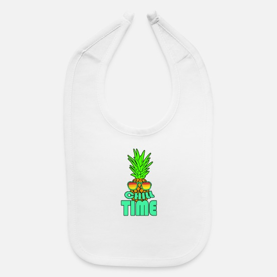 Plum Baby Clothing - Chill Time in Pineapple Fancy - Baby Bib white