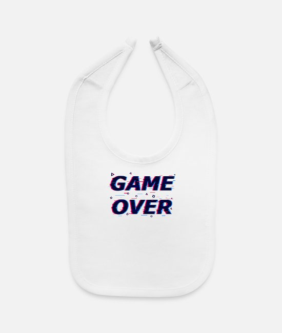 Aesthetic Baby Bibs - Game Over Glitched - Baby Bib white